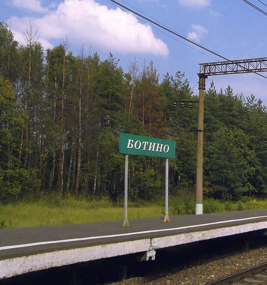"""Табличка с названием станции """"Ботино"""""""