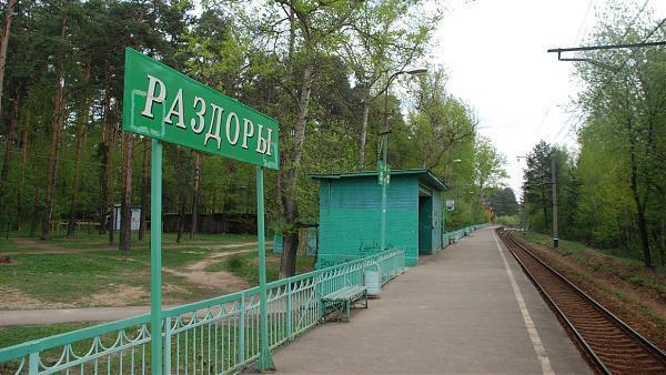 """Табличка с названием станции """"Раздоры"""""""