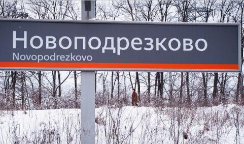 """Табличка с названием станции """"Новоподрезково"""""""