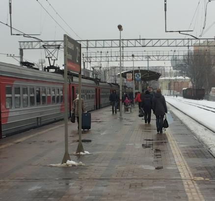 """Электропоезд около платформы """"Павшино"""""""