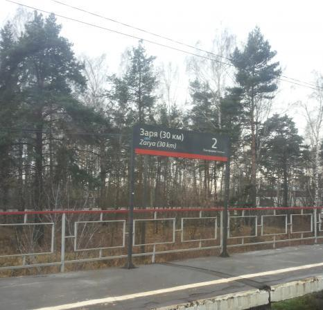 """Табличка с названием станции """"Заря"""""""