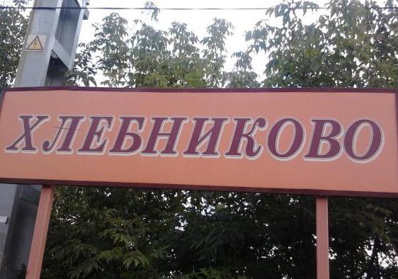 """Табличка с названием платформы """"Хлебниково"""""""