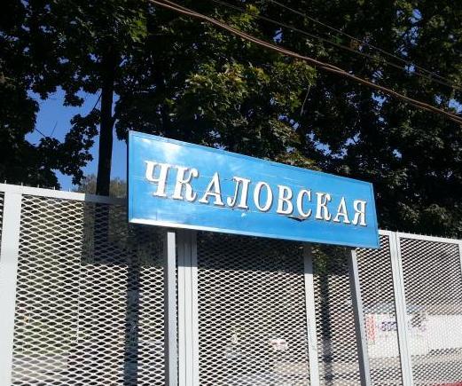 """Табличка с названием станции """"Чкаловская"""""""
