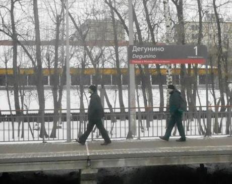 """Табличка с названием станции """"Дегунино"""""""