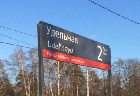 """Табличка с названием станции """"Удельная"""""""
