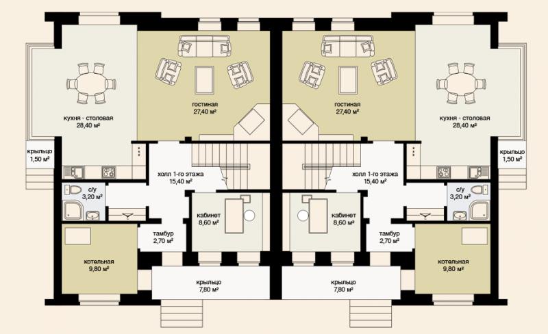 Дом дуплекс планировка