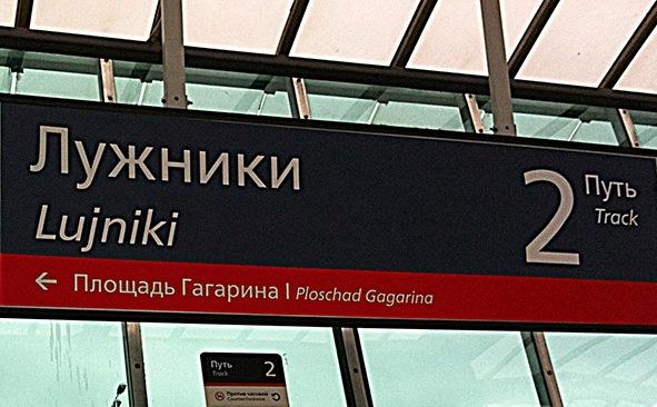 """Табличка с названием станции МЦК """"Лужники"""""""