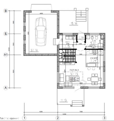 Калуга серия 125 + гараж первый этаж