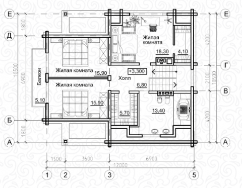 Вилла 200–2 второй этаж