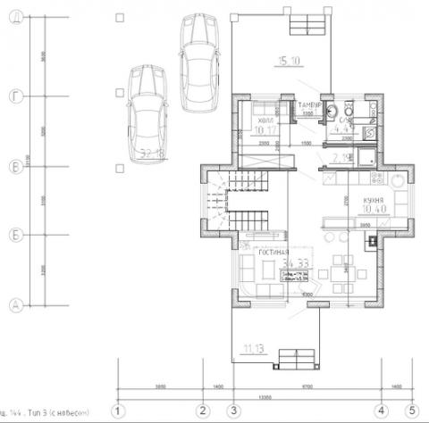 Калуга серия 144 + навес первый этаж