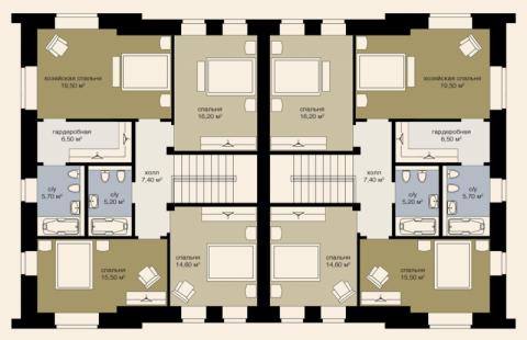 Дуплекс 205 м2 второй этаж