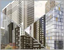 Жилой комплекс состоит из высотных зданий, этажностью до пятидесяти трёх уровней